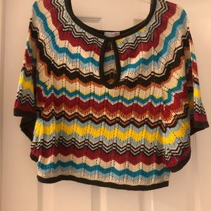 Small, multi color, light weight knit sweater